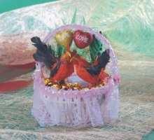 粉蕾絲籃帶路雞