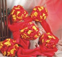 尼龍緞(紅+金黃)剪彩球