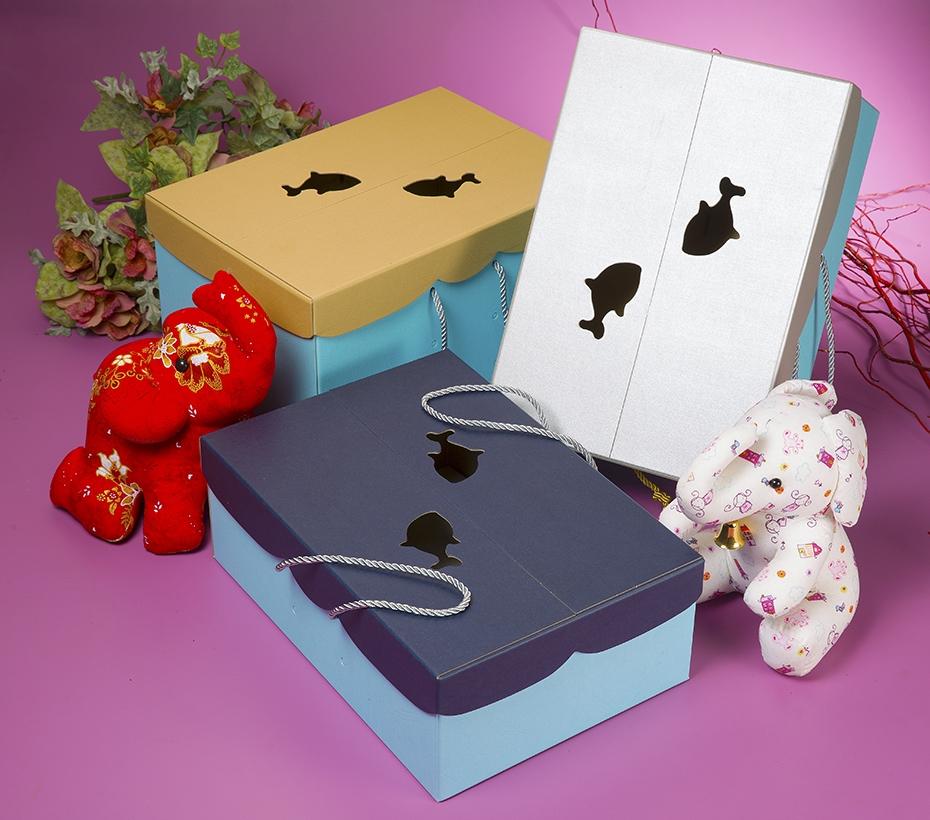 時尚造型天地手提盒+穗結-大
